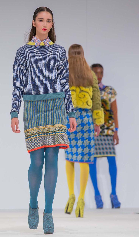 Knitwear by Thea Sanders at Nottingham Trent University. Winner of the Visionary Knitwear Award 2013 at Graduate Fashion Week. Photo: David Baird.