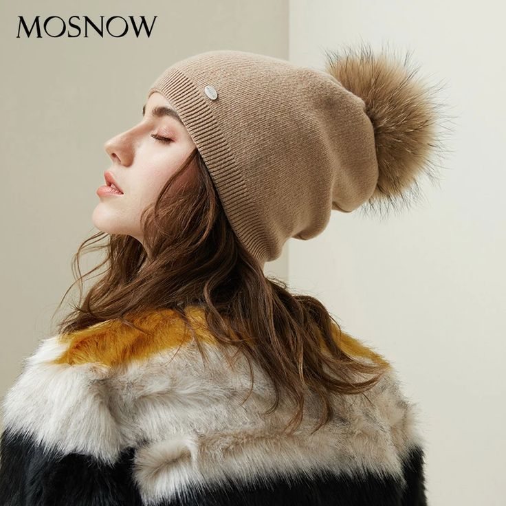 Mosnow Brand Autumn Winter Beanies Hat For Women Knitted Wool Skullies Casual Cap With Real Raccoon Fox Fur Pompom Solid Colors Ski Beanie – Fashion 2019/2020