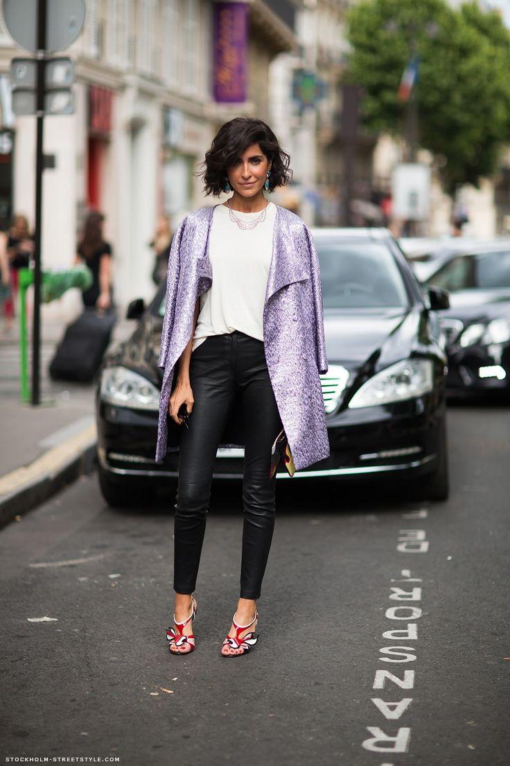 //Fashion, Inspiration, Hot Pants, Street Style, Purple Glitter, Jackets, Fall Chic, Woman Clothing