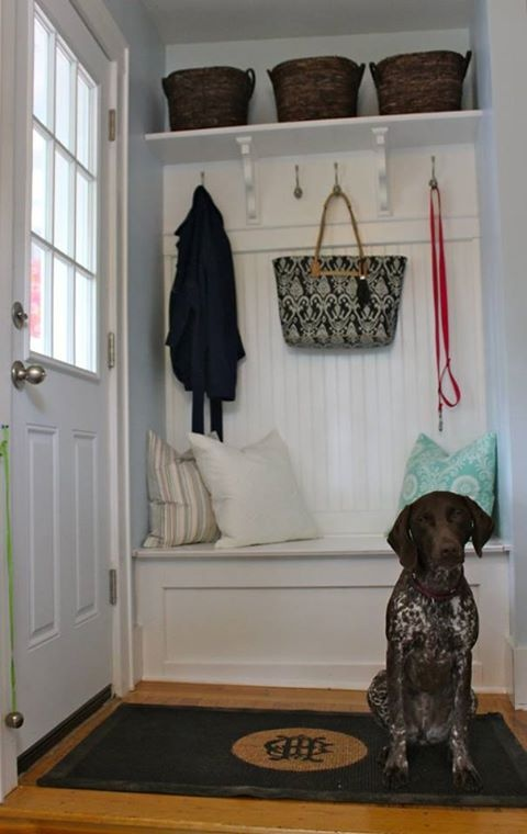 this old house mudroom - Google Search I would love this- just take off the doors of the hall closet and transform the front entry