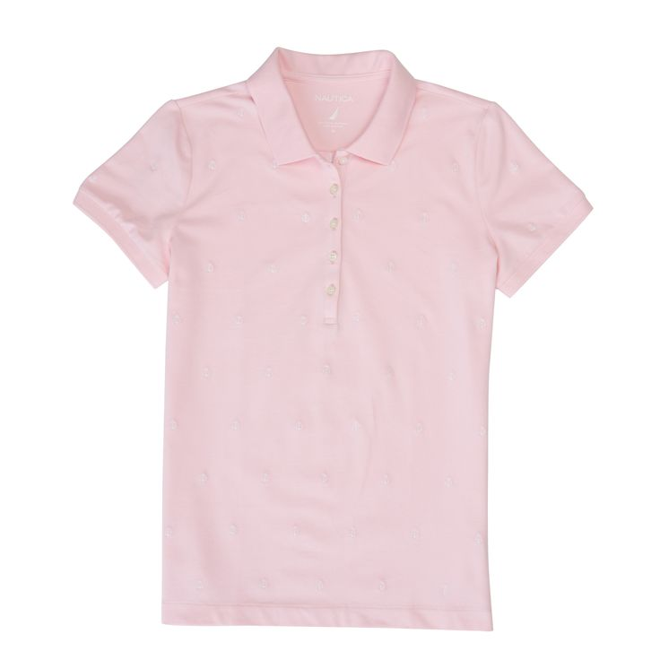 ANCHOR EMBROIDERED PIQUE POLO SHIRT - Pink