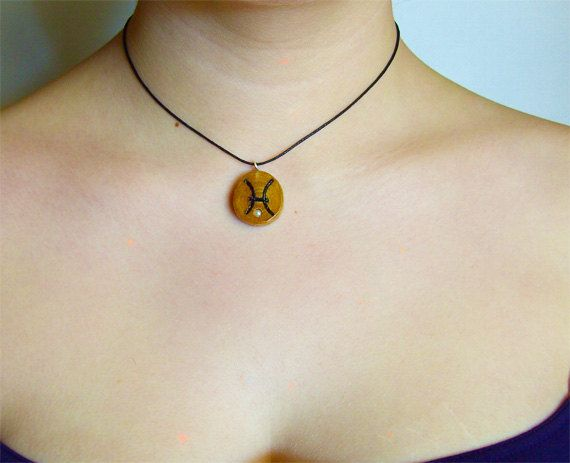 Pisces Zodiac Olive Wood necklace, Pisces star sign, Genuine Amethyst. Black cord.