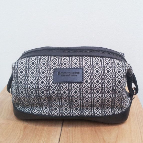 Mens Toiletry Bag  Dopp Kit with Recycled Fabric by AnoaDesignLtd