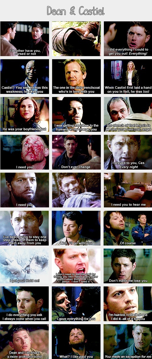 (gif set) Dean and Castiel, they're like brothers.... I think they're more like the best of friends, thats just me though like so close of friends its like they're brothers but not at the same time