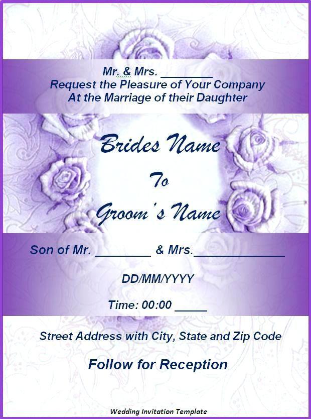Wedding Invitation Card Template Free Verbeco