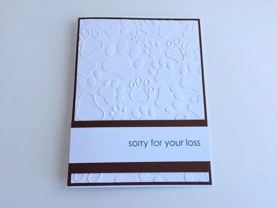 Dog Sympathy Card, Pet Sympathy, Sorry for your loss, Embossed Sympathy Card, Handmade Sympathy Card, Simply Sympathy Card