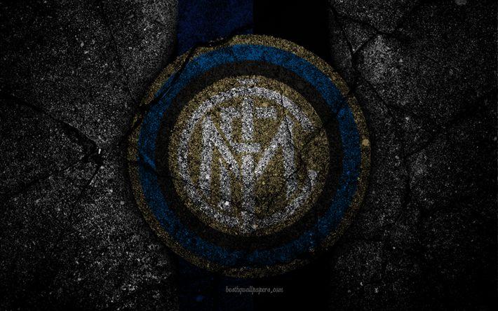 Download imagens Inter De Milão, logo, a textura do asfalto, Serie A, Internacional
