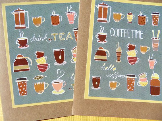 Coffee Thank You Notecards  Coffee Cards  Tea Cards by suziescards