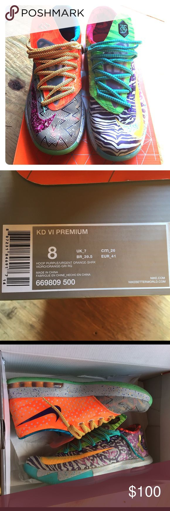 Nike KD 6 premium: 'What The KD?' Crazy pair of KD 6's! Men's size 8, but I wear women's size 9. Very comfortable sneakers & in great condition; comes with box  Nike Shoes Athletic Shoes
