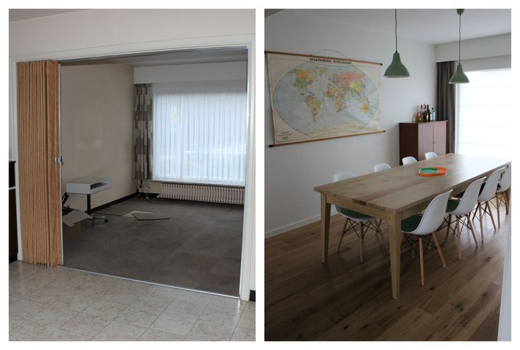 Before/ After: our dining room with selfmade and -designed table, old school map, (fake) Eames chairs - Vintage and Scandinavian inspired.