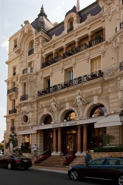 ღღ Monaco~~~ Front Entrance of the Hotel de Paris with its voluptuous façade