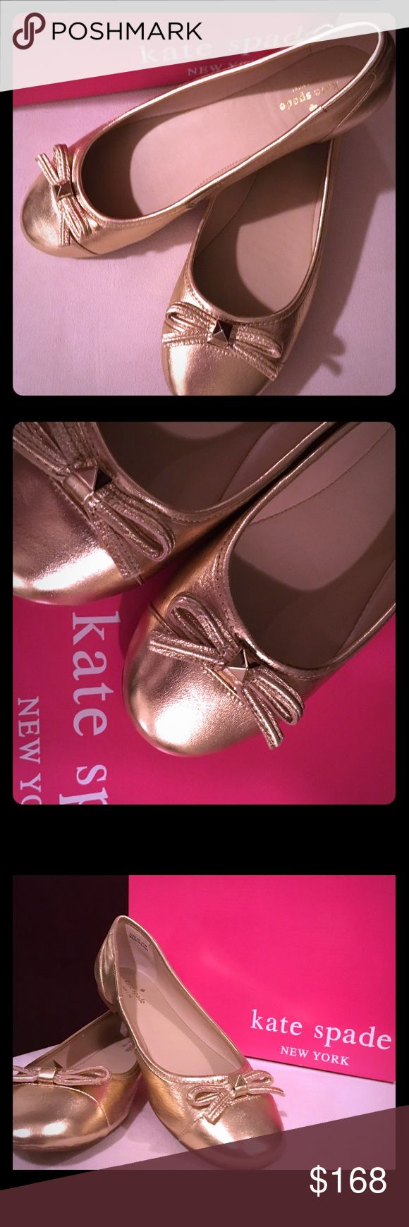 NWT Adorable Kate Spade Gold Ballet Flats Sz 9.5 NWT Adorable Kate Spade Gold Ballet Flats Sz 9.5; Rounded Toe; Bow on Front; Playfully Chic and Comfy Kate Spade Flats! Never Worn; Comes with Kate Spade Signature Box (Were Sold in Box with a Different Style Sticker on Box, so Don't worry when you see sticker. The correct shoes will be inside!) kate spade Shoes Flats & Loafers