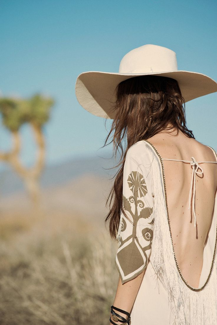 Sexy low back and tassels. Spell and the Gypsy Collective's White Horses dress. Desert Wanderer Collection.