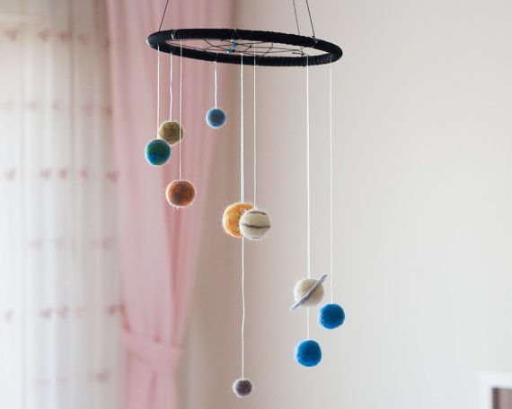 Solar system baby mobile will be a great addition to your cute nursery decor.  All the cute planets of this solar system baby mobile; the Sun,