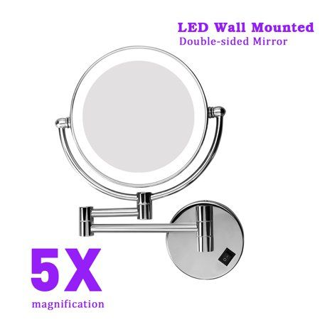 Excelvan 8 Inch Two Sided Swivel Lighted Wall Mount Makeup Mirror