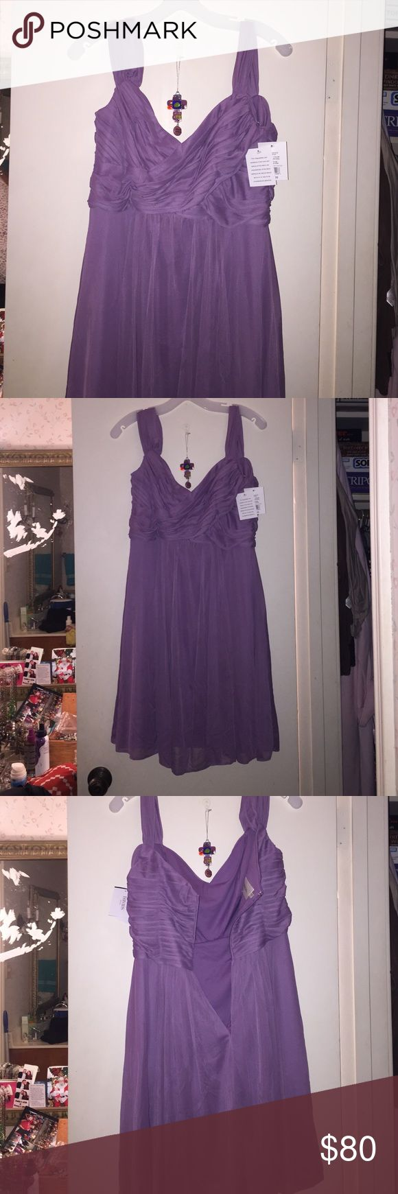 "Purple Davids Bridal short dress Purple chiffon short Davids Bridal dress. Never been worn. Cuts off at waist and flares out. Specific color is called ""Wisteria"". David's Bridal Dresses Wedding"
