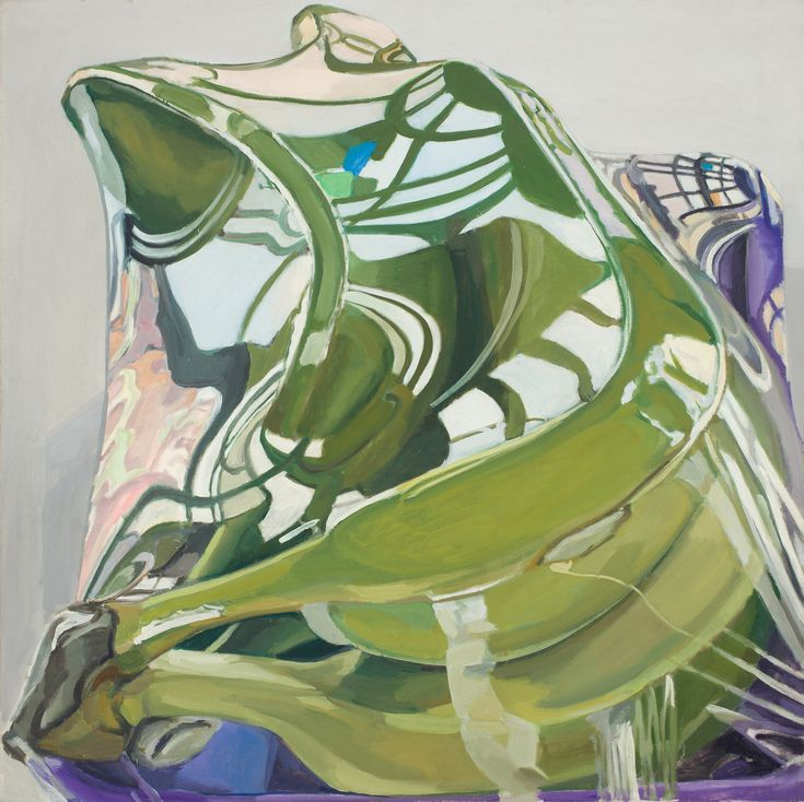 "Janet Fish, ""Plantains in a Box"" (1969), oil on canvas, 44 x 44 in"