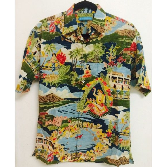 "Authentic Tori Richard aloha shirt, MADE IN HAWAII By one of Hawaii's most popular and luxurious aloha shirt companies. A handsome and attractive aloha shirt in like-new condition! Gently worn only a couple of times. Pattern features some of Hawaii's most iconic spots such as Diamond Head and the Royal Hawaiian Hotel. Size is ""XS"", but I believe it runs a little large. It fits my bf who is 5'10"" and about 150lbs. This designer aloha shirt is a perfect balance of vintage and modern. Colors…"