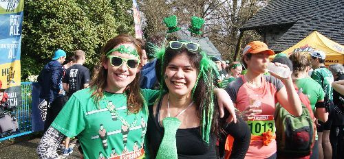 St. Patrick's Day 5K Run participants having fun after the race in Stanley Park