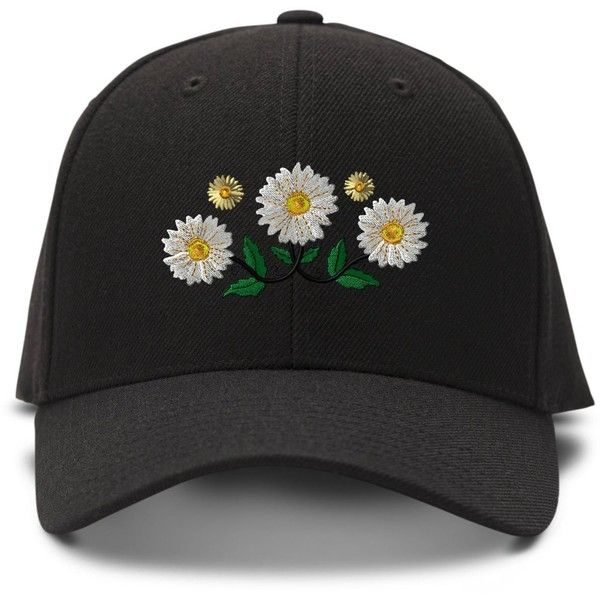 Daisy Chain Embroidery Embroidered Adjustable Hat Baseball Cap ($12) ❤ liked on Polyvore featuring accessories, hats, ball cap, embroidered baseball hats, baseball caps, embroidered baseball caps and embroidery hats