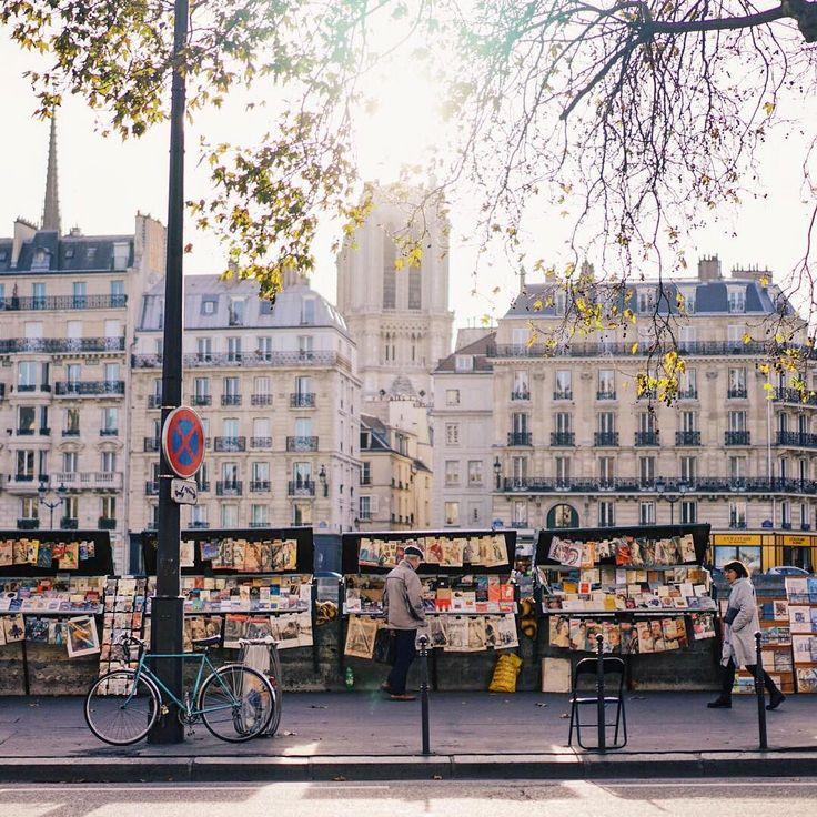 Les Bouquinistes along Seine River, sellers of vintage books & posters, Paris.