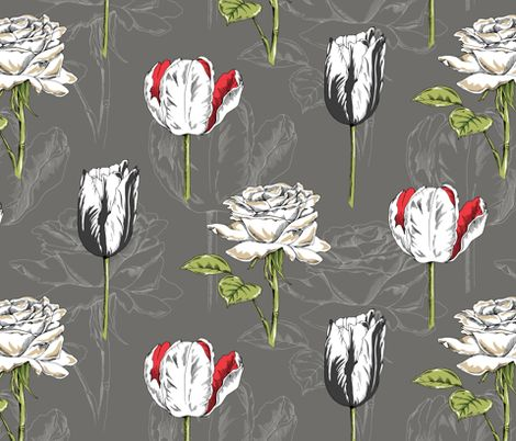 Botanical - Charcoal fabric by pattysloniger on Spoonflower - custom fabric