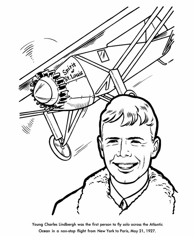 Charles lindbergh aviator coloring page us history for Us history coloring pages