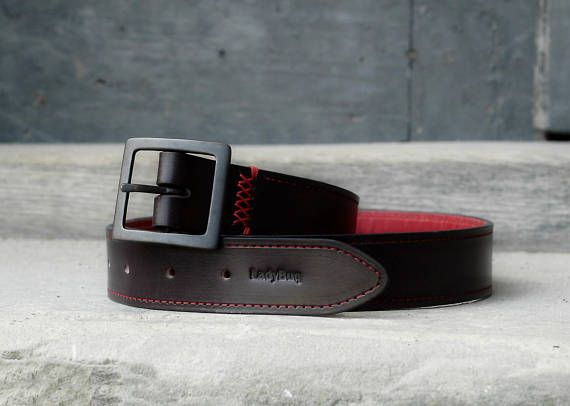 Leather Belt Handmade Belts Black & Red