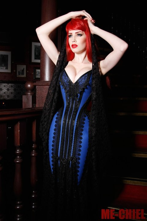 Beautiful Royal Cobalt Blue And Black Corset Dress With
