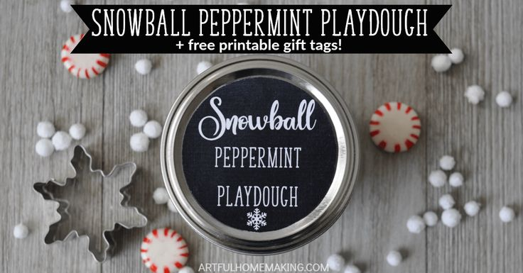 Snowball Peppermint Playdough is the perfect winter craft to make with your kids. The free printable gift tags make it perfect for handmade gifting!
