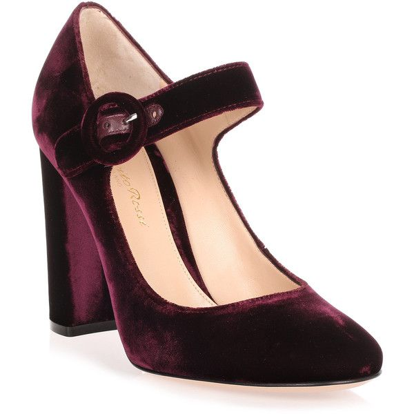 Lorraine Burgundy Velvet Pump ($635) ❤ liked on Polyvore featuring shoes, pumps, red, red shoes, red mary jane pumps, mary jane shoes, red pumps and high heel shoes