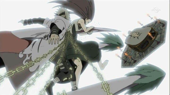 Minato y Kushina protegiendo a Naruto.