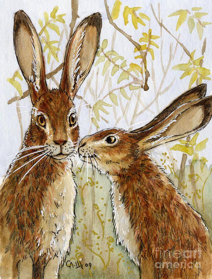 Lovely Rabbits - Little Kiss  Painting by Svetlana Ledneva-Schukina (they look like hares to me)