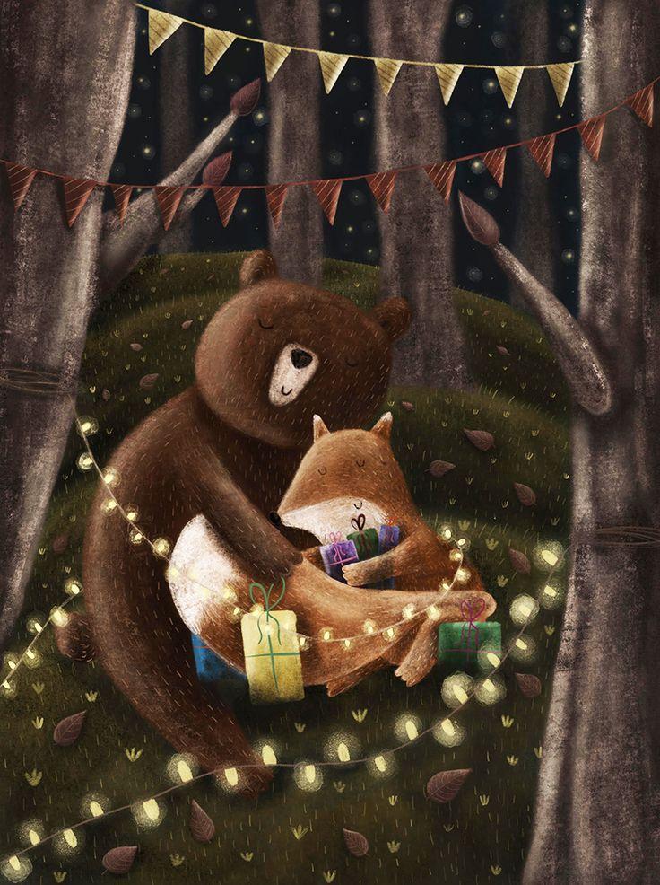 Прикольные картинки медведь с лисой, байрам поздравления картинка