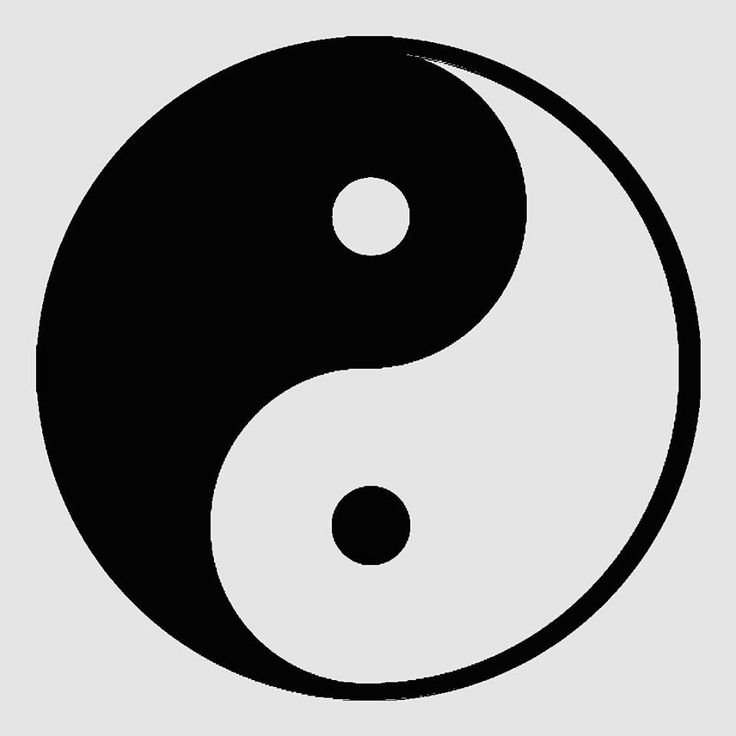 This symbol is known as yin yang, or balance, in the Taoist religion. All things are thought to carry yin and embrace yang, which achieves balance.