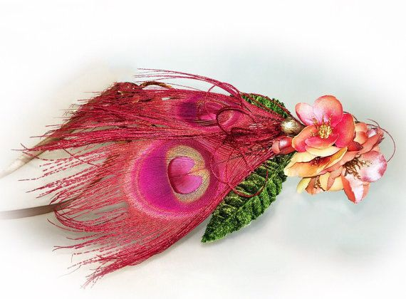 Pink floral crown feather accessories gatsby hair