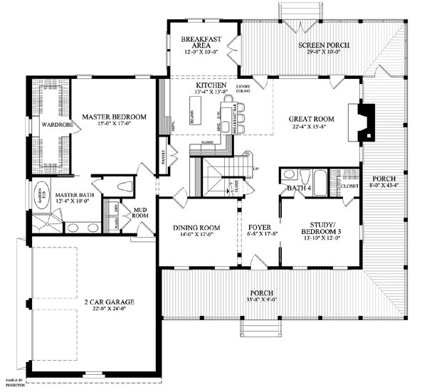first floor plan of country farmhouse southern house plan 86144 - One Story Farmhouse Plans