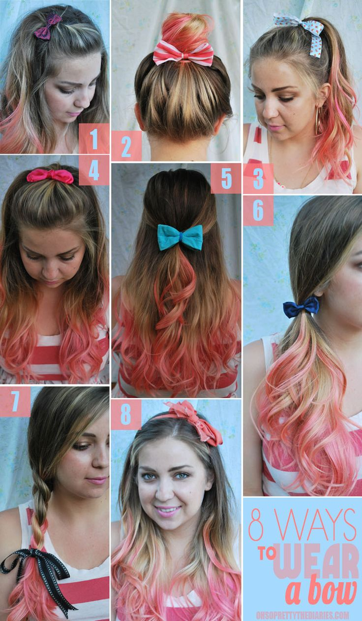 8 Ways to wear a bow.  1. Pin your bangs/ bangs area up and to the side with a little bow clip.  2. Put a big bow behind your high bun.  3. Tie a ribbon into a bow around your high pony. FAVE.  4. Pin the top half of your hair up with a bow clip.  5. Low half up half down secured with a bow.  6. Side pony secured with a bow.  7. Tie a ribbon into a floppy bow at the bottom of a side braid.  8. Tie a head scarf into a bow around your head- like a headband!Hairbows, Hair Colors, Ombre Hair, Wear Bows, Beautiful, Hair Style, Hair Bows, Way To Wear A Bows, Big Bows