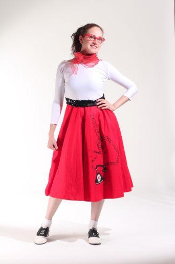 50`s vestido blanco con rojo