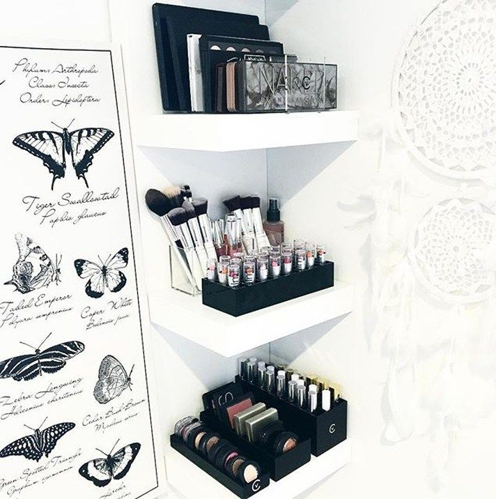 17 gorgeous makeup storage ideas | beauty | vanity organization ideas | makeup neatly organized on wall shelves