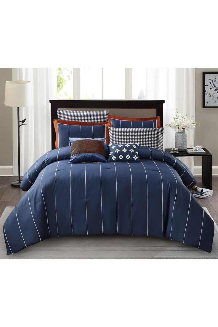 JONESWORKS DESIGN | Navy Asher 3-Piece Full/Queen Comforter Set