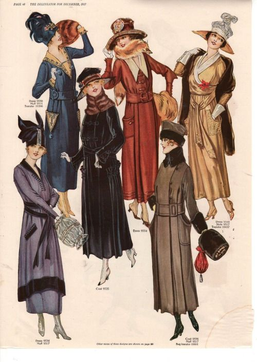 "December, 1917 fashion plate from ""The Delineator""."