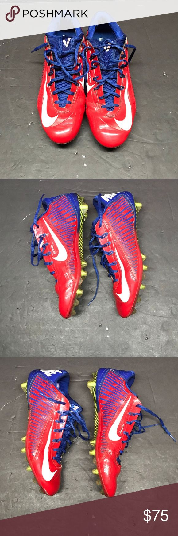 Nike Vapor Carbon 2.0 Men's Football Cleats Nike Vapor Carbon 2.0 Men's Football Cleats Mens size: 11.5 Colors: Red / White / Blue  Great used condition (see photos for condition)  Nike Vapor Carbon 2.0 Men's Football Cleat features a nano-lasered upper with zero-space fit for precise support, agility and speed during play. A combination of bladed and conical cleats creates incredible traction, and dynamic Flywire wraps the foot for a comfortable, supportive fit. Nike Shoes Athletic Shoes