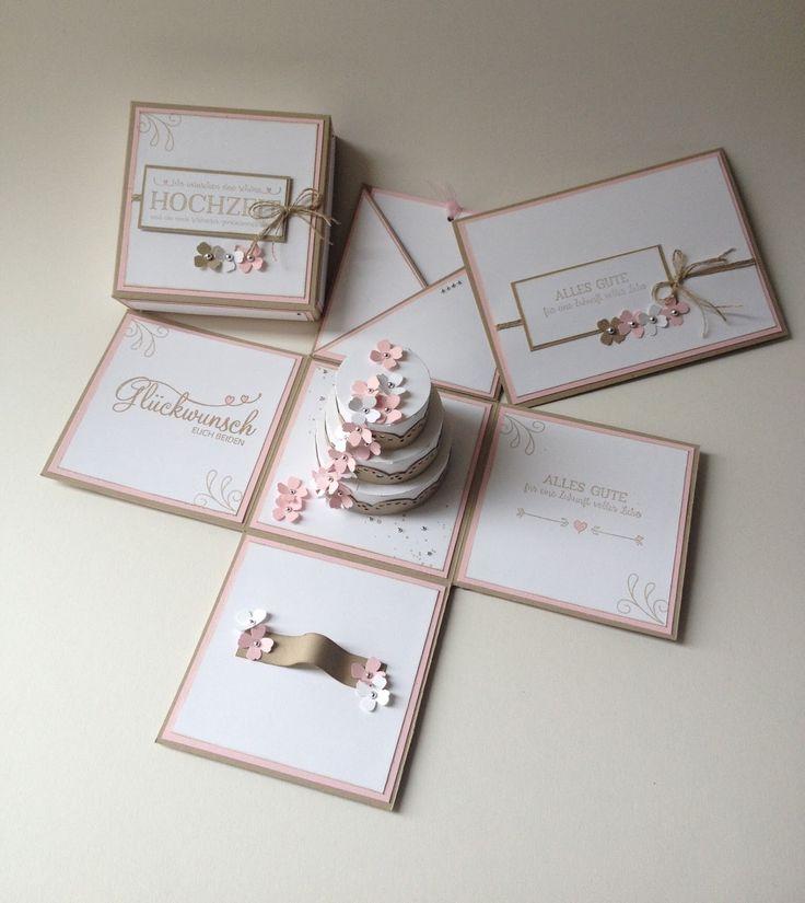 Stempellicht: Explosionsbox zur Hochzeit mit Torte....