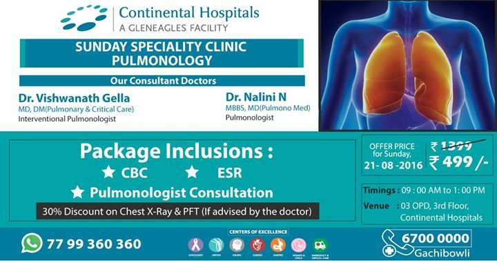 Sunday Speciality Clinic - #Pulmonology @ Continental Hospitals At An #Offer Price Of Rs 499/-