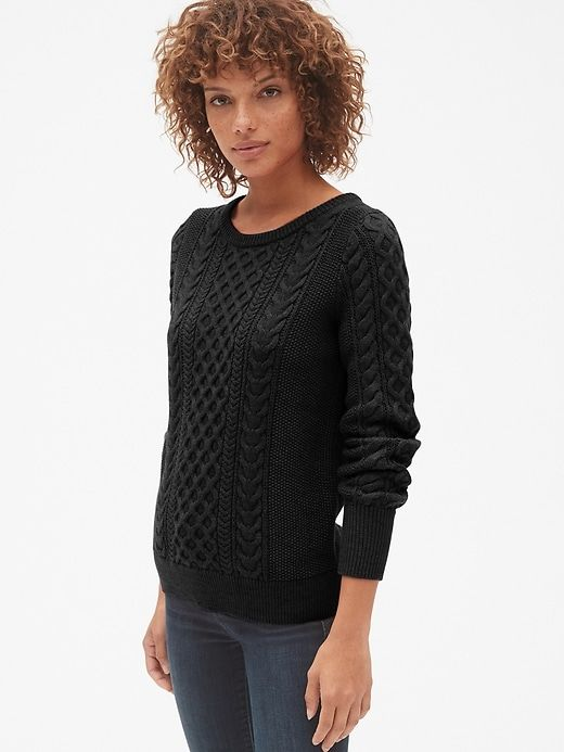 Gap Women s Cable-Knit Crewneck Pullover Sweater True Black ... 74aaa9a58