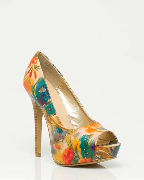 Floral Print Leather-like Peep Toe Pump