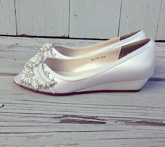 Gatsby Peep Toe Wedge Wedding shoes by BeholdenBridal on Etsy