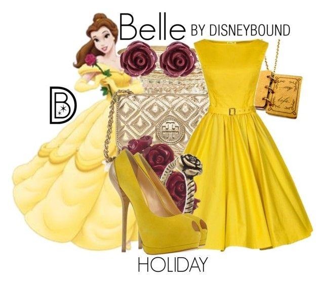 """Belle"" by leslieakay ❤ liked on Polyvore featuring Lipsy, Brooks Brothers, Disney, Tory Burch, Wet Seal and Giuseppe Zanotti"