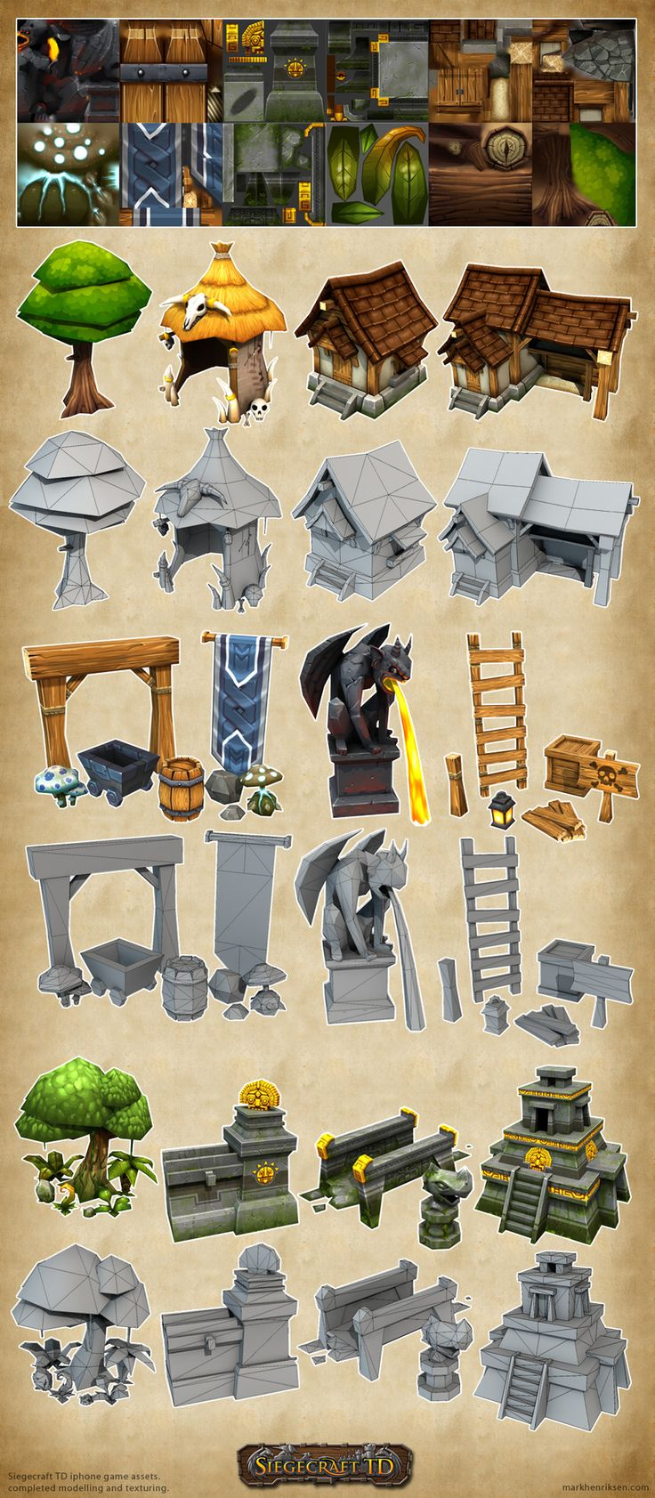 Another example of texture layouts onto simple, low poly objects.  Siegecraft TD 1 by mavhn on deviantART